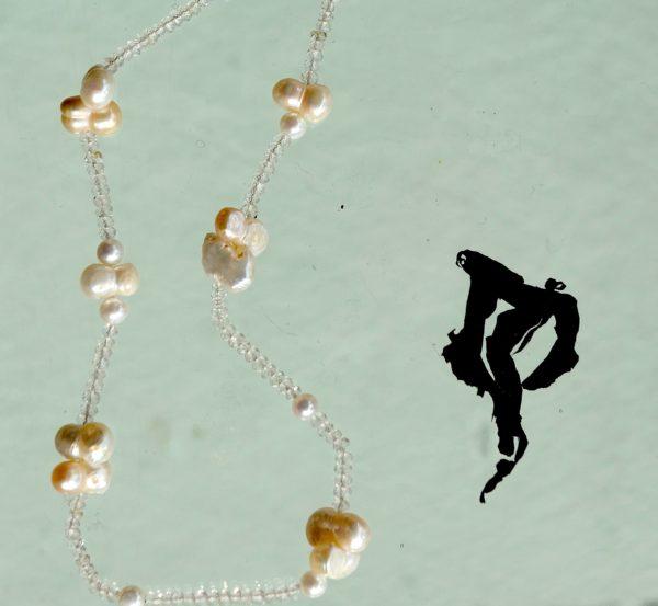 Halskæde med 925s lås, Ferskvands perler, kvarts