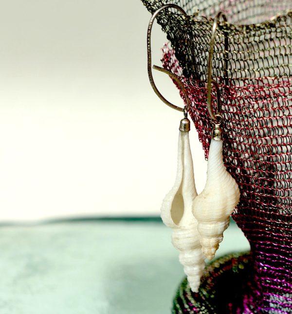 Natur Konkylier med sterling sølv 925s ørekroge