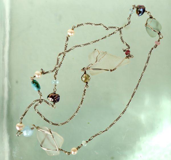 Sterling sølv kæde 925s med hav slebet glas, akvamarin, ferskvands perler, turmaliner røg kvarts –
