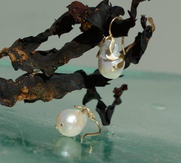 Ferskvandsperler i guld 14kt