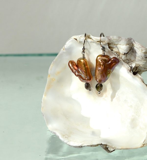 925s med farvet ferskvands perle, turmalin