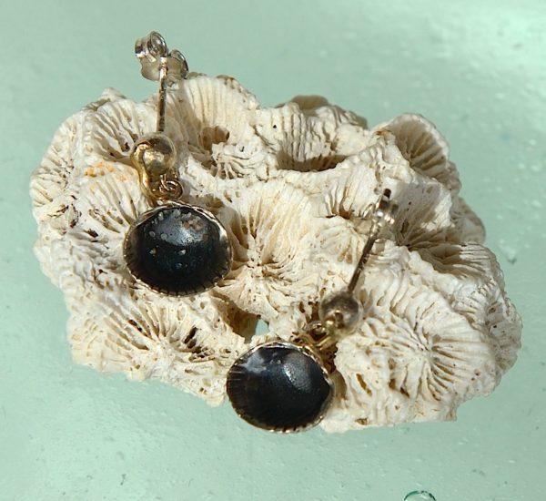Hjerte musling skaller i sterlings sølv 925s: oxidering. Med 14 kt. 585 guld
