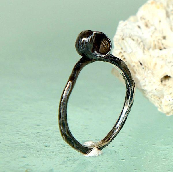 Ring med sneglehus , oxideret sterling sølv 925s