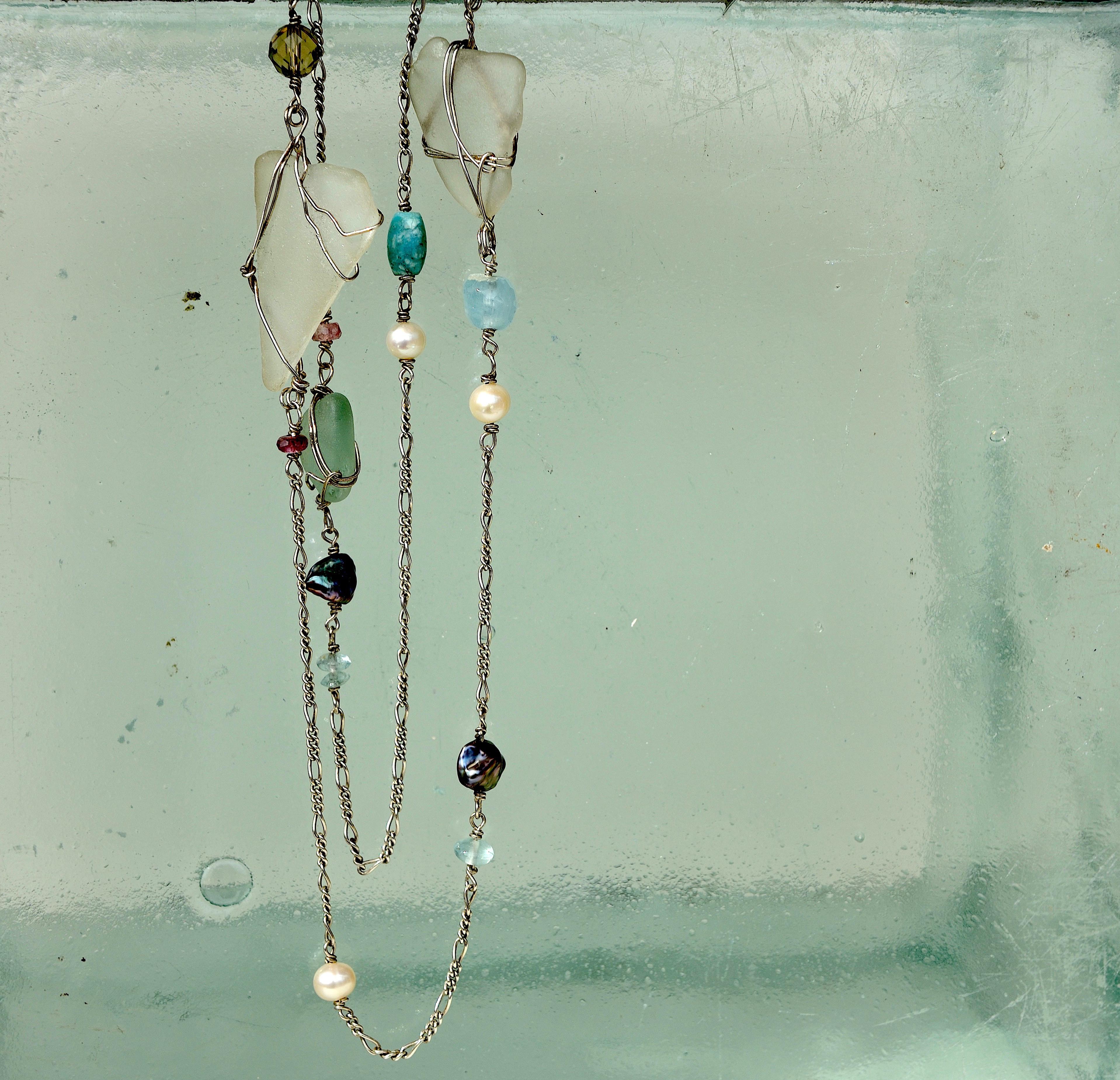 Sterling sølv kæde 925s med hav slebet glas, akvamarin, ferskvands perler, turmaliner røg kvarts